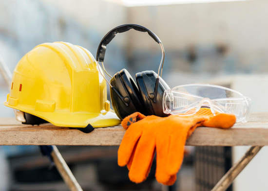 Safety helmet, ear protectors, goggles, and gloves